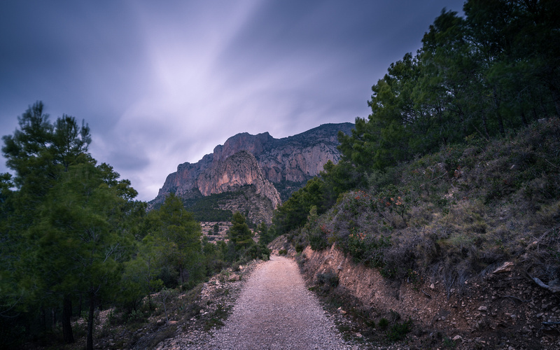 Mountain Trail and Dark Clouds - Long Exposure